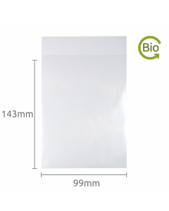 99x143mm Compostable Plain Lip bag 50 Pk
