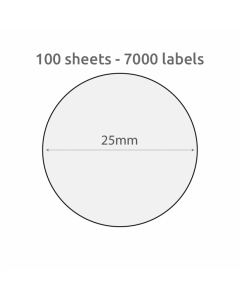 25mm Circle Recycled Labels 70 per Sheet 100 Pk White