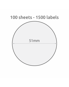 51mm Circle Recycled Labels 15 per A4 sheet 100 PK