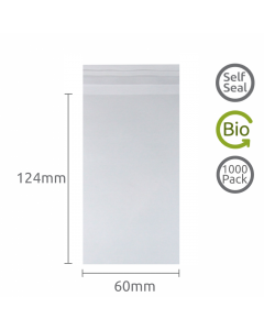 60x124mm Self Seal Bio-degradable 1000 Pk