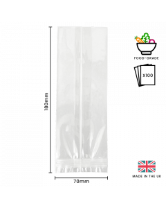 70 x 180mm Cellulose Display Bag 100 Pk