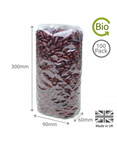 300 x 90 x 60mm Cellulose Gusset Bag 100 Pk