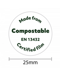 'Made From Compostable' 25mm Dia Compostable Sealer 100Pk