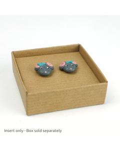 Earring Insert for 50 x 50mm box 10Pk - RibbedBrown