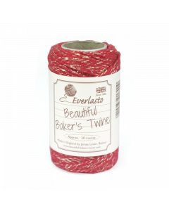 20m Cotton Metallic Twine - Red