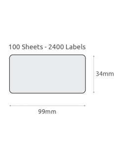 L16 Plain Recycled Labels (99x34mm) 100Pk-White