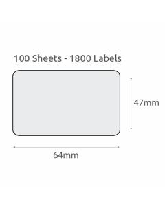 L18 Plain Recycled Labels (64x47mm) 100Pk