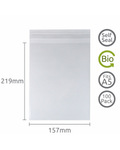 157x219mm (A5) Self Seal Compostable 100 Pk