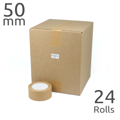 Wholesale Box of Self Adhesive Paper Parcel Tape (50mm wide x 24 rolls)