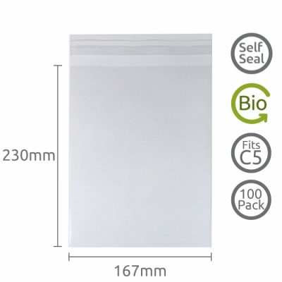 167x230mm (C5) Self Seal Compostable 100 Pk