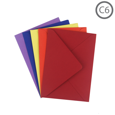 C6 Recycled Envelope Colours 100Pk