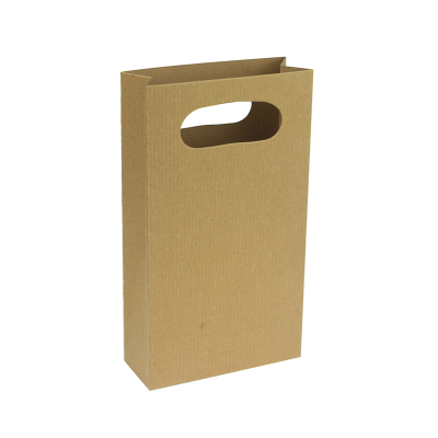 100 x 180 x 40mm Gift Bag -Ribbed Brown 10Pk.