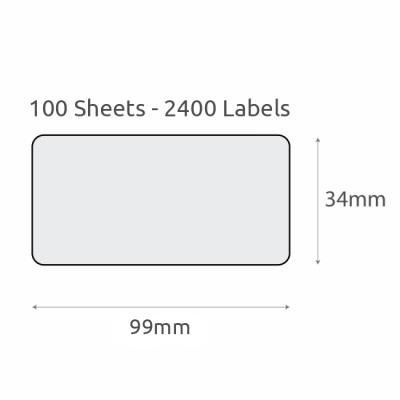 L16 Plain Recycled Labels (99x34mm) 100Pk-White