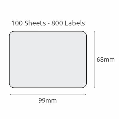 L8 Plain Recycled Labels (99x68mm) 100Pk