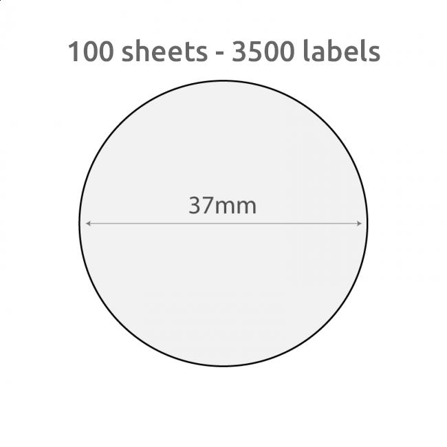 L37c Plain Recycled Labels 37mm Diameter 100 Sheets 3500 Labels